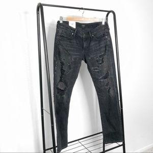 AGOLDE Black Distressed Chloe Low Rise Slim Jeans